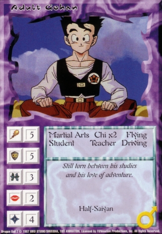 Scan of 'Adult Gohan' Ani-Mayhem card