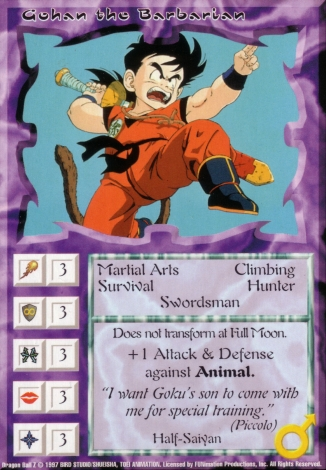 Scan of 'Gohan the Barbarian' Ani-Mayhem card