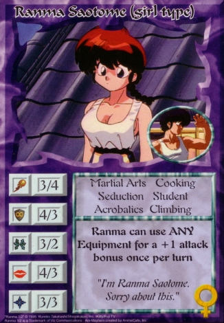 Scan of 'Ranma Saotome (girl type)' Ani-Mayhem card