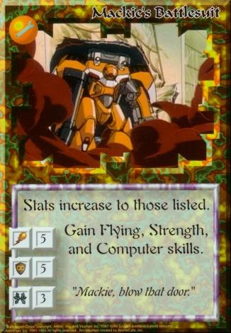 Scan of 'Mackie's Battlesuit' Ani-Mayhem card