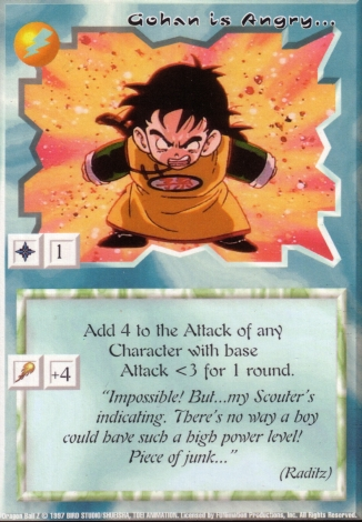 Scan of 'Gohan is Angry...' Ani-Mayhem card
