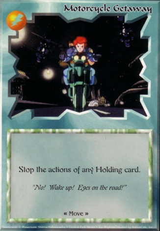 Scan of 'Motorcycle Getaway' Ani-Mayhem card