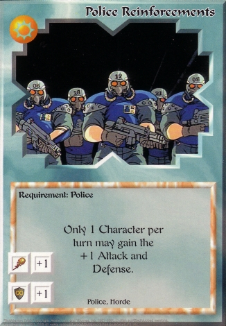 Scan of 'Police Reinforcements' Ani-Mayhem card