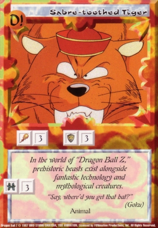 Scan of 'Sabre-toothed Tiger' Ani-Mayhem card
