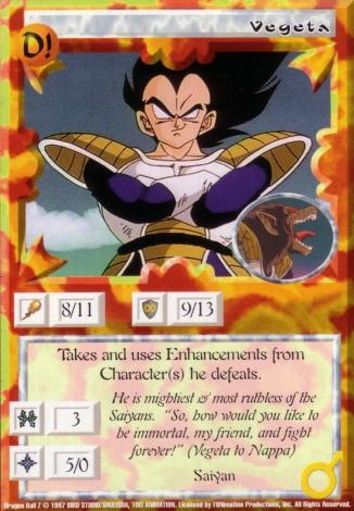 Scan of 'Vegeta' Ani-Mayhem card