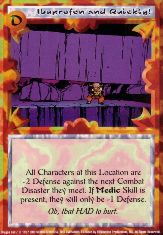 Scan of final 'Ibuprofen And Quickly!' Ani-Mayhem card