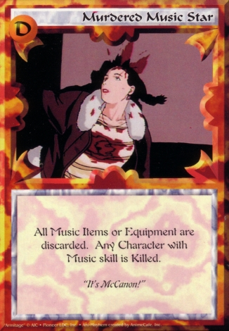 Scan of 'Murdered Music Star' Ani-Mayhem card