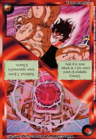 Scan of 'Pummel / What'd YOU have for lunch?' Ani-Mayhem card