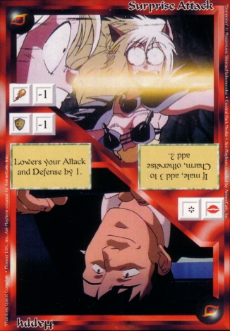 Scan of 'Surprise Attack / Happy' Ani-Mayhem card