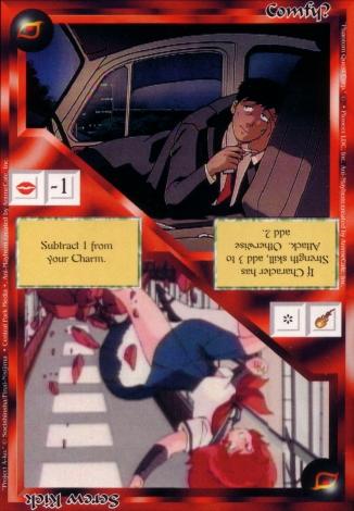 Scan of 'Comfy? / Screw Kick' Ani-Mayhem card