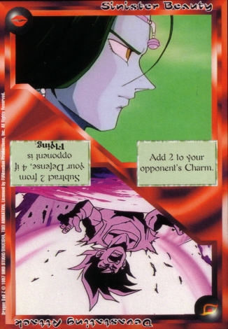 Scan of 'Sinister Beauty / Devastating Attack' Ani-Mayhem card