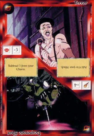 Scan of 'Terror / Desperate Shot' Ani-Mayhem card