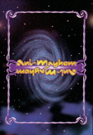 Scan of Ani-Mayhem card back, purple