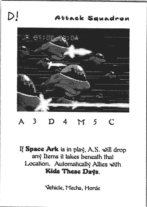 Scan of 'Attack Squadron' playtest card
