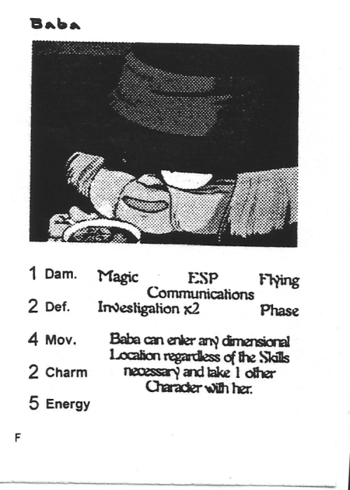 Scan of 'Baba' playtest card