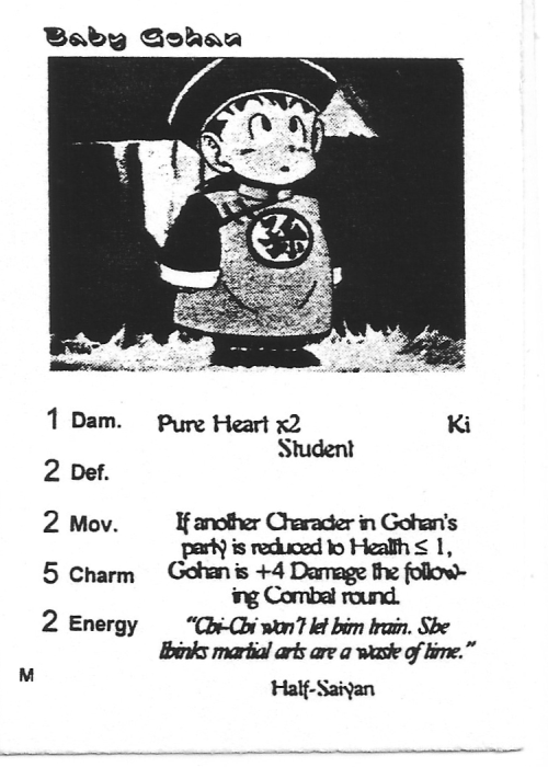 Scan of 'Baby Gohan' playtest card
