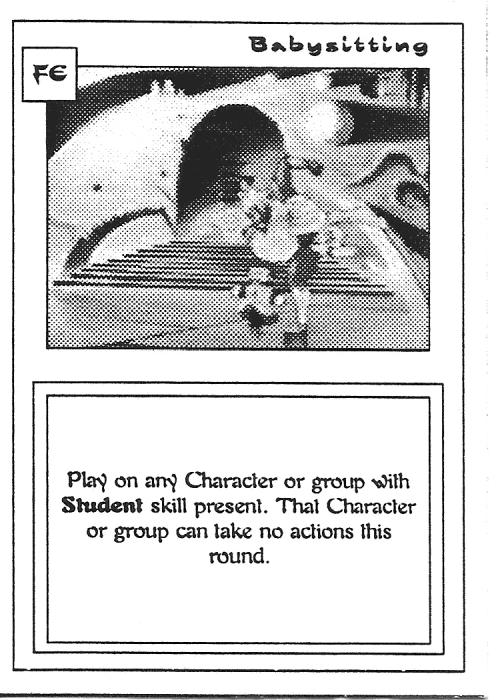 Scan of 'Babysitting' playtest card