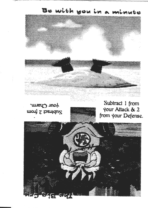 Scan of 'Be with you in a minute / The Big Cry' playtest card