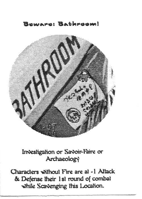 Scan of 'Beware: Bathroom!' playtest card