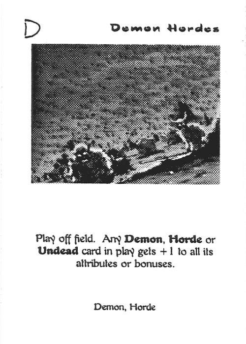 Scan of 'Demon Hordes' playtest card