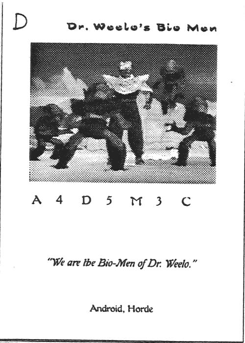 Scan of 'Dr. Weelo's Bio Men' playtest card