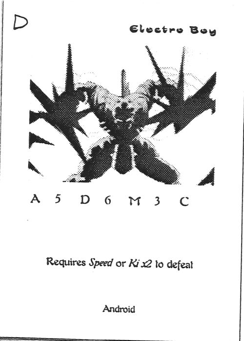 Scan of 'Electro Boy' playtest card