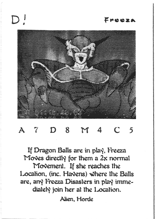 Scan of 'Freeza' playtest card