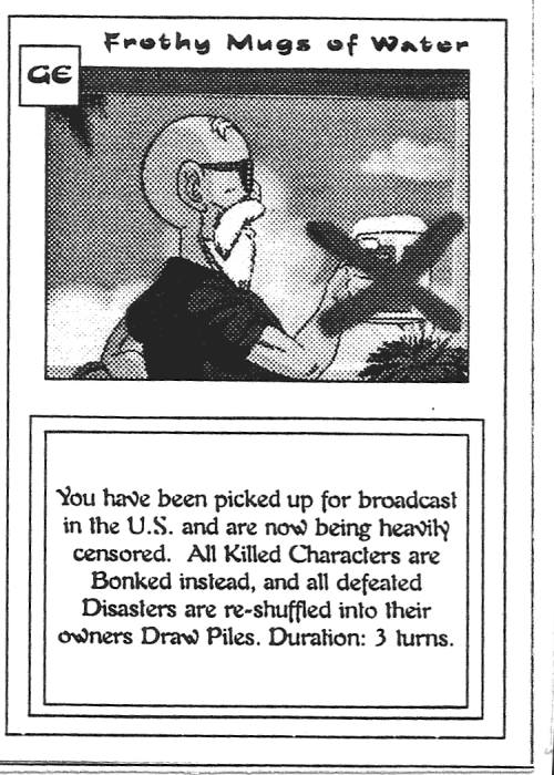 Scan of 'Frothy Mugs of Water' playtest card