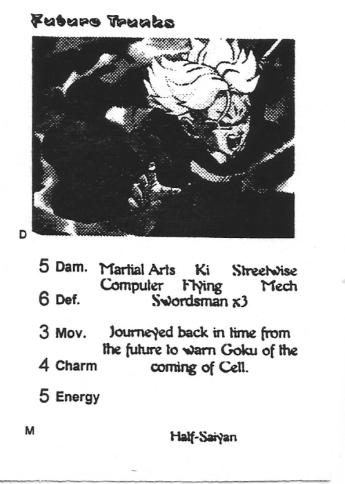 Scan of 'Future Trunks' playtest card
