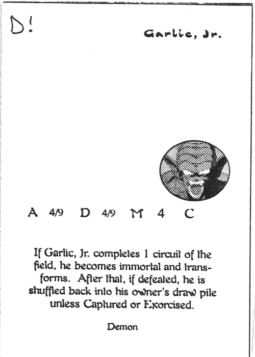 Scan of 'Garlic, Jr.' playtest card