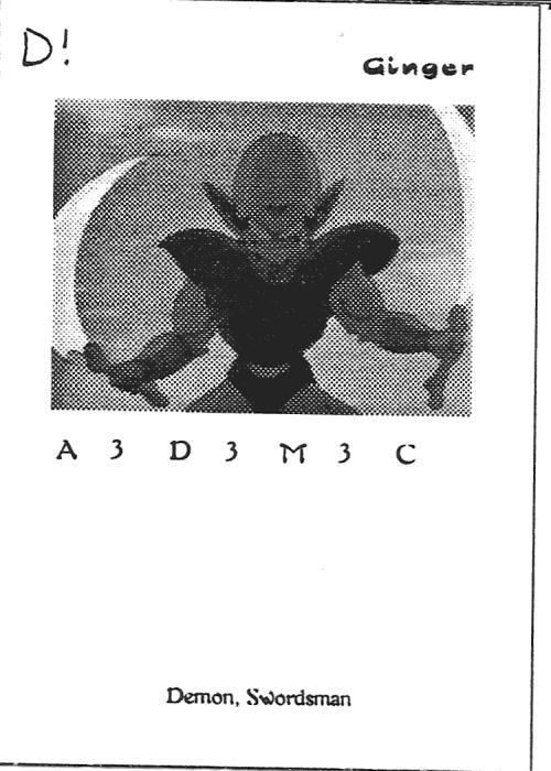 Scan of 'Ginger' playtest card