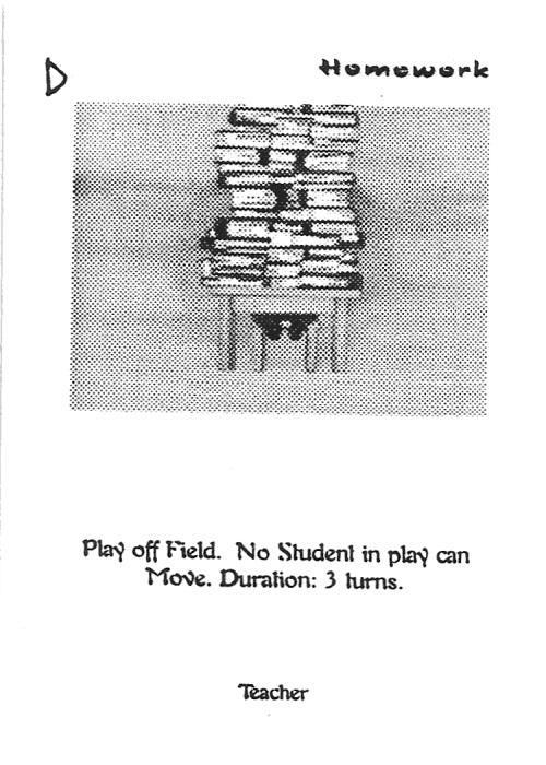Scan of 'Homework' playtest card