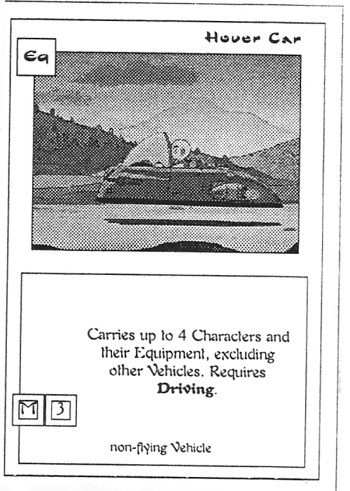 Scan of 'Hover Car' playtest card