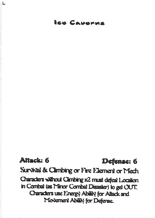 Scan of 'Ice Cavern's' playtest card