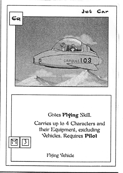 Scan of 'Jet Car' playtest card