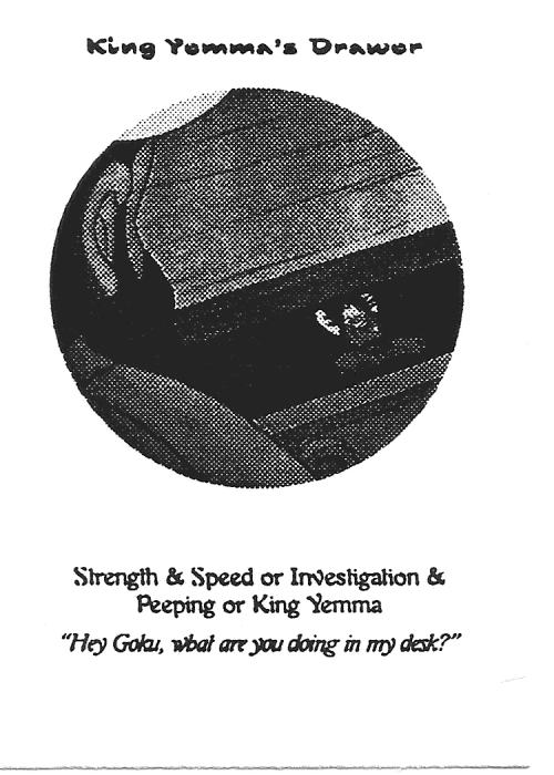Scan of 'King Yemma's Drawer' playtest card