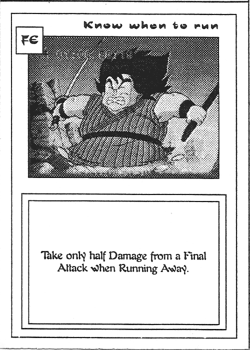 Scan of 'Know when to run' playtest card