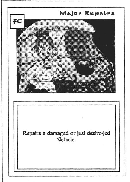 Scan of 'Major Repairs' playtest card