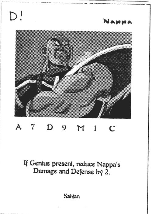 Scan of 'Nappa' playtest card