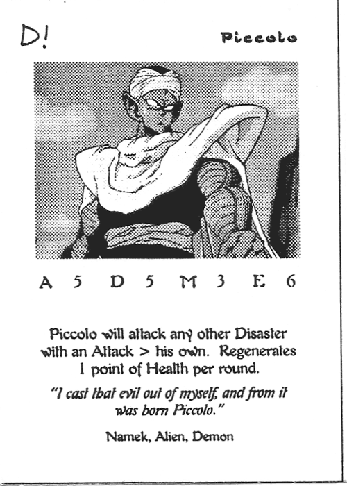 Scan of 'Piccolo' playtest card