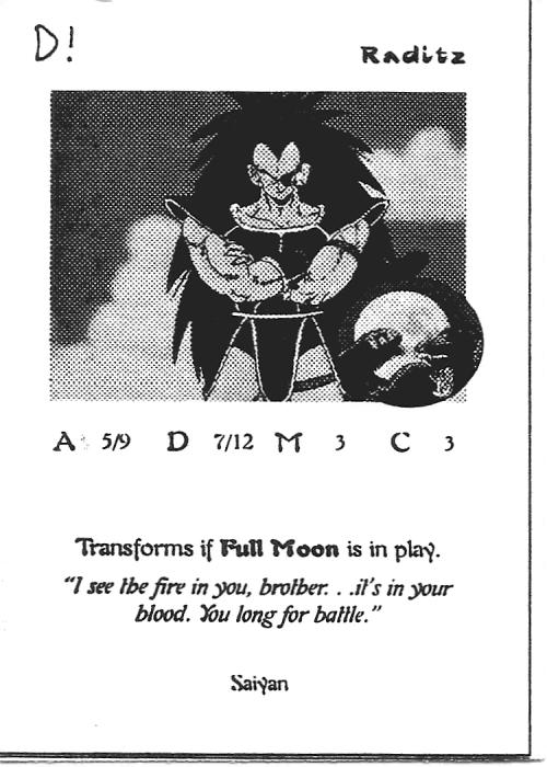 Scan of 'Raditz' playtest card