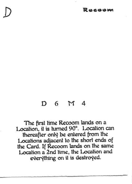 Scan of 'Recoom' playtest card