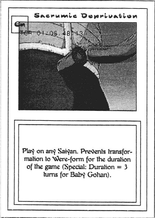 Scan of 'Sacrumic Deprivation' playtest card