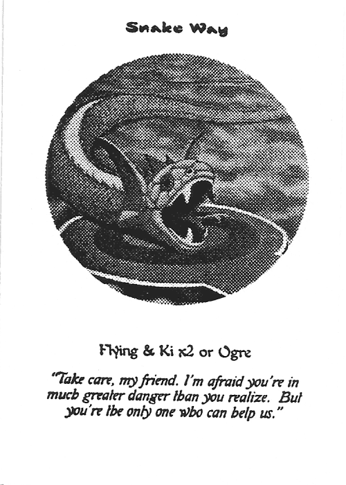 Scan of 'Snake Way' playtest card