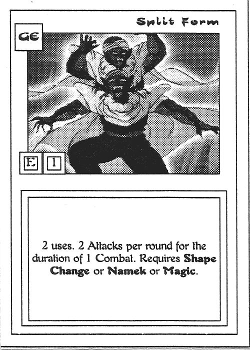 Scan of 'Split Form' playtest card