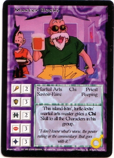 Misprinted 'Master Roshi' card with bold text.