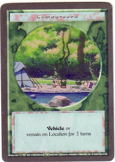 Misprinted 'Campground' card with a gray border.