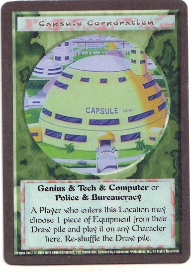 Misprinted 'Capsule Corporation' card with a gray border.