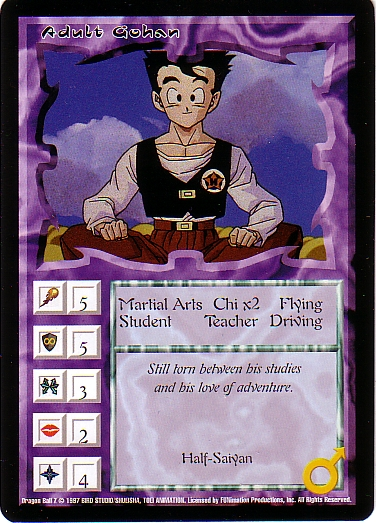 Misprinted Adult Gohan card, offset print on the abilities.