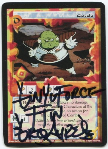 Guldo card signed by his Dragon Ball Kai voice actor Greg Ayres, AniMinneapolis 2017. From CJ Autographs.